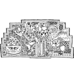 Black and white maya style drawing vector