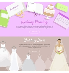 Wedding planning and dress web banner vector