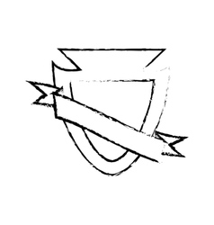 Shield protected insignia sketch vector