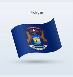 State of michigan flag waving form vector