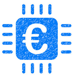 Euro chip icon grunge watermark vector