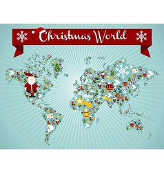 Christmas globe map concept vector image