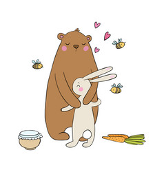 Lovely cartoon bear and hare a pot of honey vector
