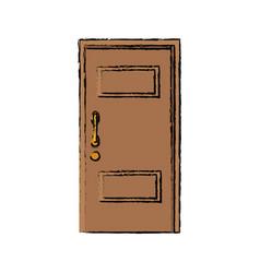 Wooden door handle entrance decorative vector