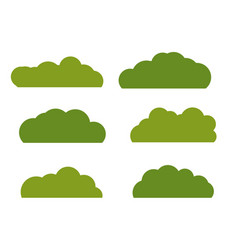 Green bush landscape flat icon isolated on white vector