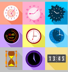 types of clock icons set flat style vector image