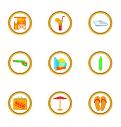 Beach holiday in miami icons set cartoon style vector