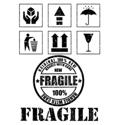 Safety fragile signs and stamp vector image