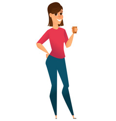 Stylized character modern business woman holding vector