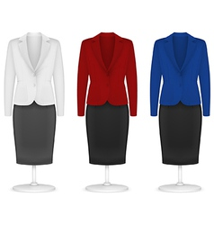 Classic women plain jacket and skirt template vector