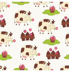 Seamless pattern with cows vector