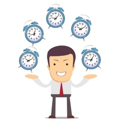 Businessman juggling with alarm clocks vector