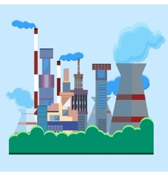 Architectural building factory chimney smoke vector