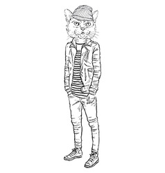 Fashion of cat dressed up in casual city style vector