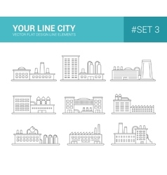 Set of line flat design buildings icons factories vector