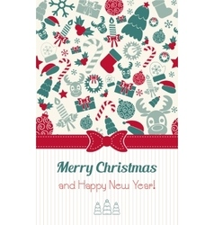 Vintage vertical christmas card christmas icons vector