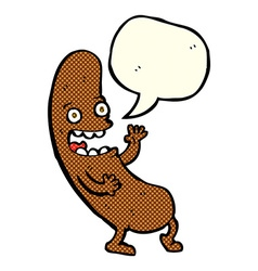 Cartoon sausage with speech bubble vector