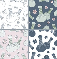 Seamless patterns with thai massage spa elements vector