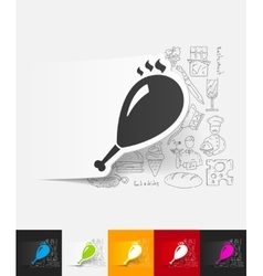 Gammon paper sticker with hand drawn elements vector