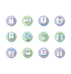 Round flat color home climate icons vector
