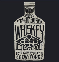 Whiskey bottle with vintage typography vector image