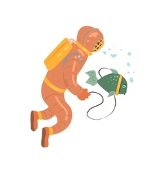 Scuba diver with pet fish vector