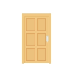 Closed wooden door icon cartoon style vector