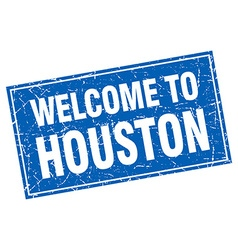 Houston blue square grunge welcome to stamp vector