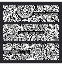 Abstract ethnic pattern card set vector image