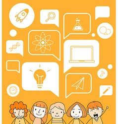 Child with a education icon on speech bubble vector image