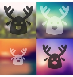 Christmas deer icon on blurred background vector