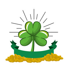 Clover plant with coins and ribbon decoration vector