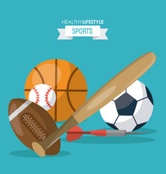 colorful background of healthy lifestyle sports vector image