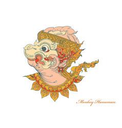 Colors monkey hanuman art pattern vector