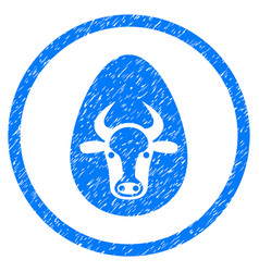 Cow egg rounded grainy icon vector