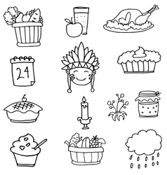 Doodle of hand draw element thanksgiving vector