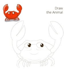 Draw the fish animal crab educational game vector