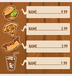 fastfood on wood background vector image vector image