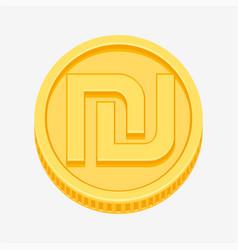 israeli shekel symbol on gold coin vector image vector image