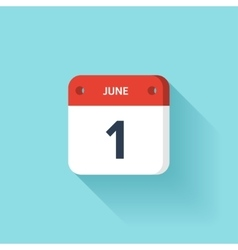 June 1 Isometric Calendar Icon With Shadow vector image