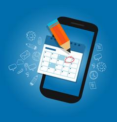 mark calendar schedule on mobile smart-phone vector image