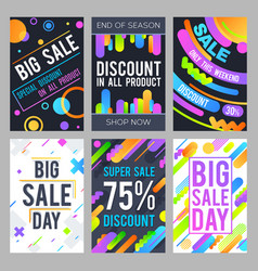 Modern sale banners in material design style with vector