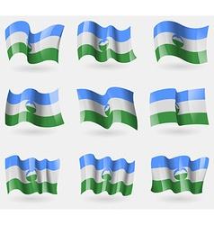 Set of kabardinobalkaria flags in the air vector