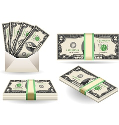 Set of two dollars banknotes vector