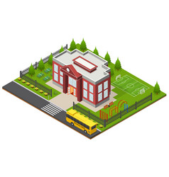 Shcool building isometric view vector
