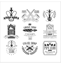 Smoke shop vintage black and white emblems vector