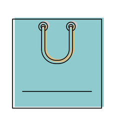 square shopping bag icon with handle in watercolor vector image vector image