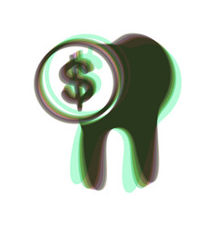 The cost of tooth treatment sign colorful vector