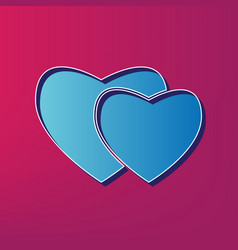 Two hearts sign blue 3d printed icon on vector