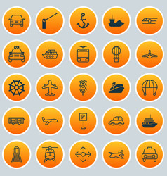 Vehicle icons set collection of jet flight vector